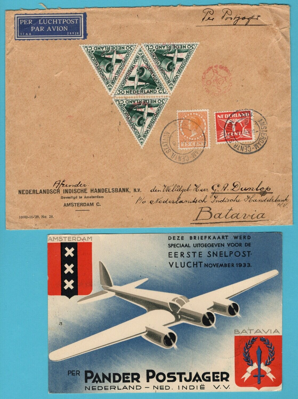 NEDERLAND brief + kaart 1933 per Pander Postjager snelvlucht