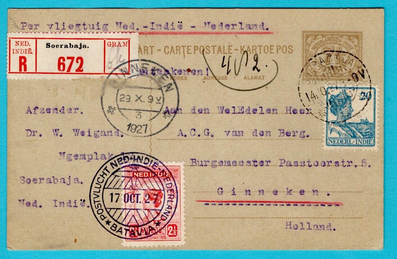NETHERLANDS EAST INDIES R air card 1927 Soerabaja Koppen flight
