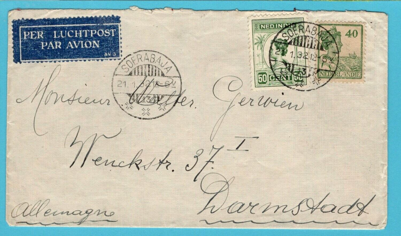 NETHERLANDS EAST INDIES air cover 1932 Soerabaja to Germany