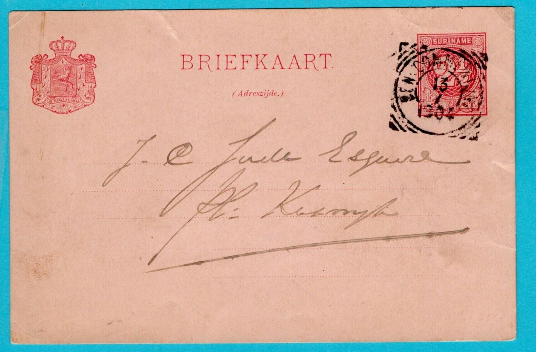 SURINAME briefkaart 1904 Beneden Commenwijne plantage