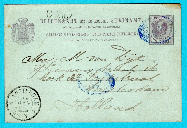 SURINAME briefkaart 1899 met pakketboot Ned- West Indië