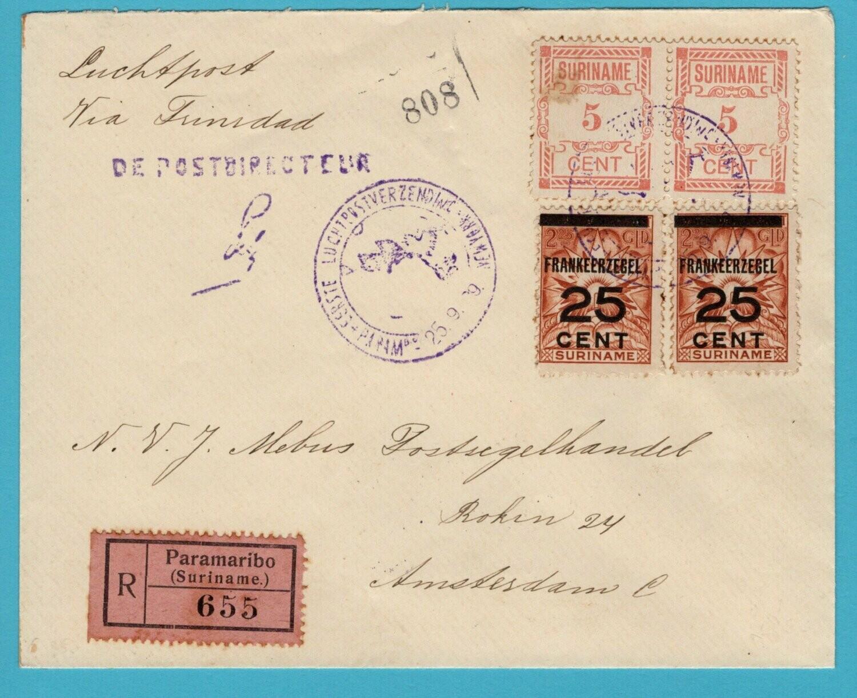 SURINAME R luchtpostbrief 1929 Paramaribo naar Amsterdam
