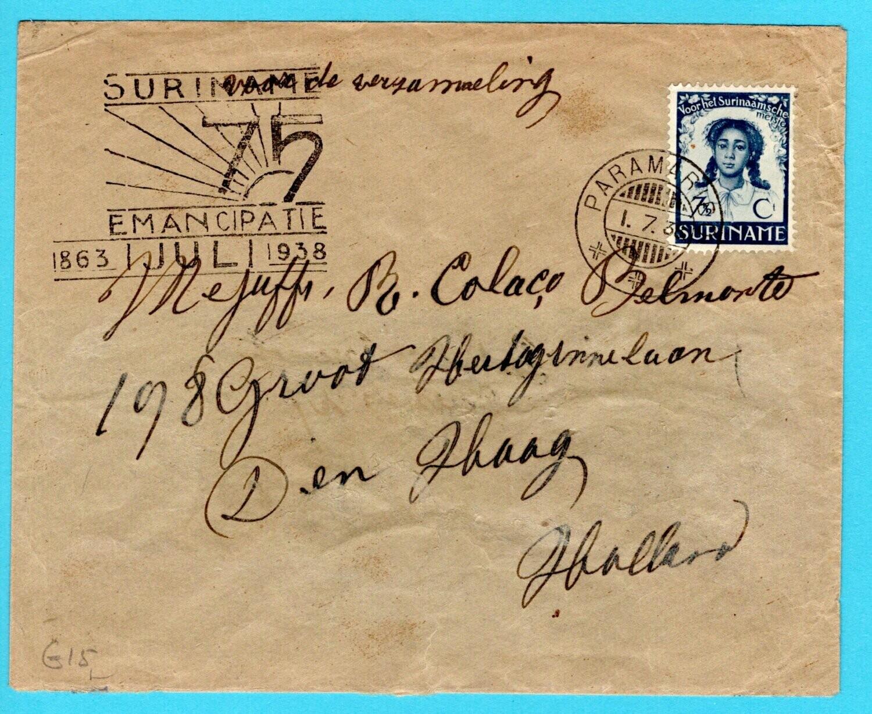 SURINAME brief 1938 Paramaribo Emancipatie naar Nederland