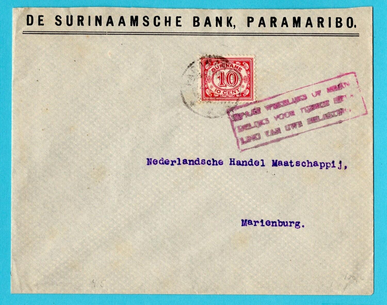 SURINAME brief 1927 Paramaribo met belasting cachet
