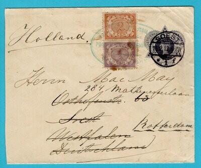 SURINAME envelop 1912 S.S. Marowijne naar Soest en doorgestuurd
