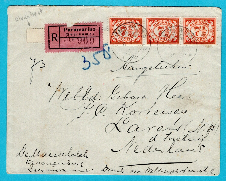 SURINAME R rivierboot brief 1929 Commewijne naar Nederland