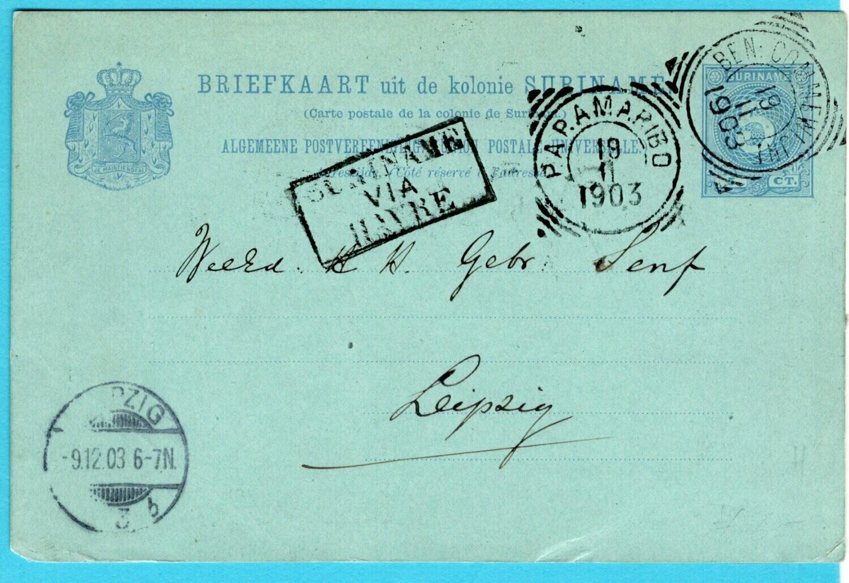 SURINAME briefkaart 1903 Ben: Commewijne plantage Katwijk