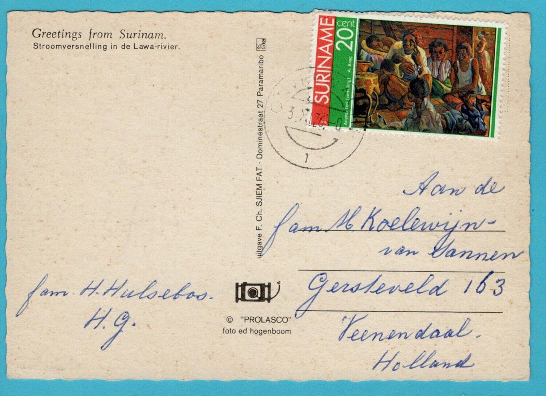 SURINAME prentbriefkaart 1976 Onverwacht naar Nederland