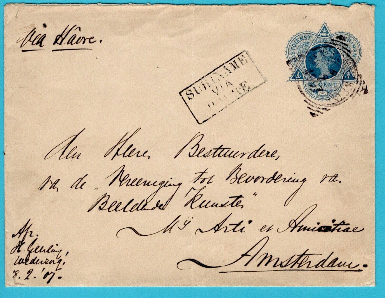 SURINAME envelop 1907 Ben. Commewijne plantage Wederzorg