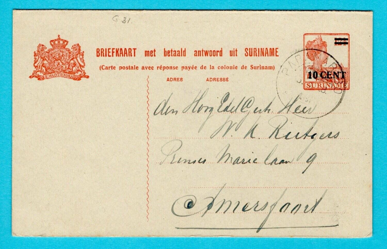 SURINAME briefkaart met betaald antwoord 1927 Paramaribo