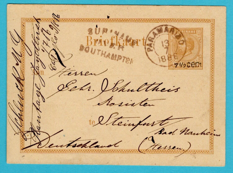 SURINAME briefkaart 1886 Paramaribo plantage Jagtlust