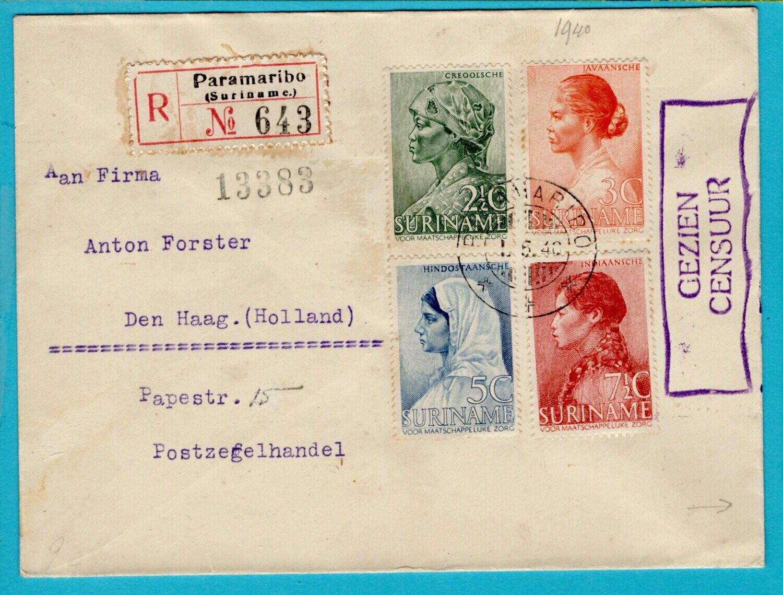 SURINAME R brief 1-V-1940 Paramaribo naar Nederland -retour