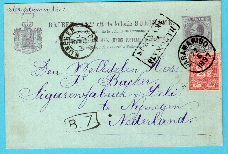 SURINAME briefkaart 1897 Paramaribo route cachet via Plymouth