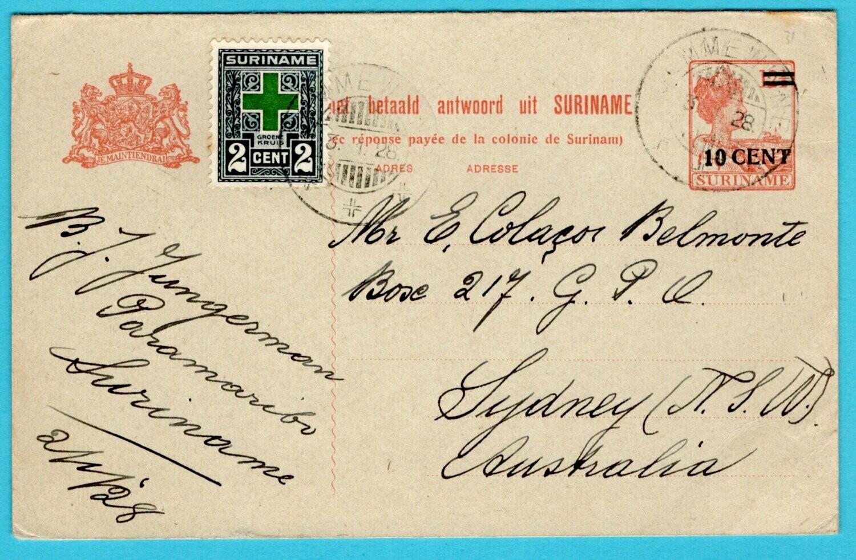 SURINAME briefkaart 1928 Paramaribo naar Australië