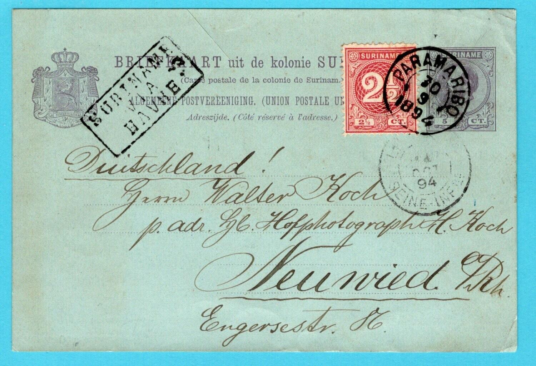 SURINAME briefkaart 1894 Paramaribo met route cachet via Havre