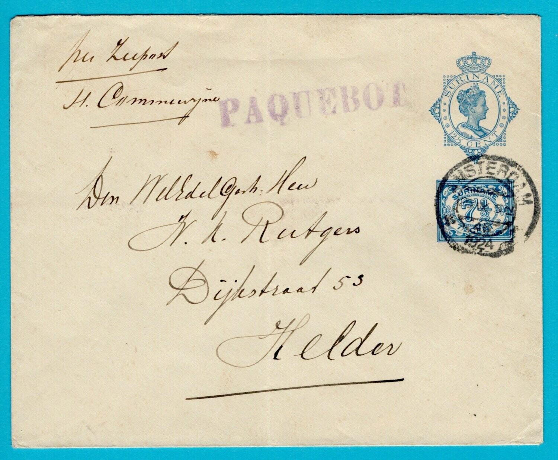 SURINAME envelop 1924 Paquebot en Amsterdam stempel