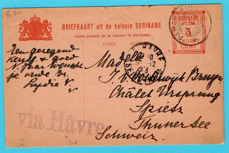 SURINAME briefkaart 1913 Paramaribo