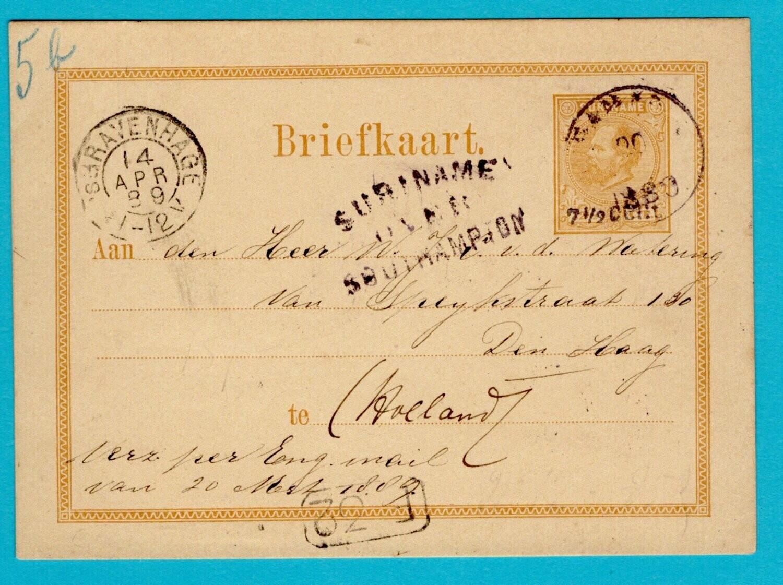 SURINAME briefkaart 1889 Paramaribo over Southampton