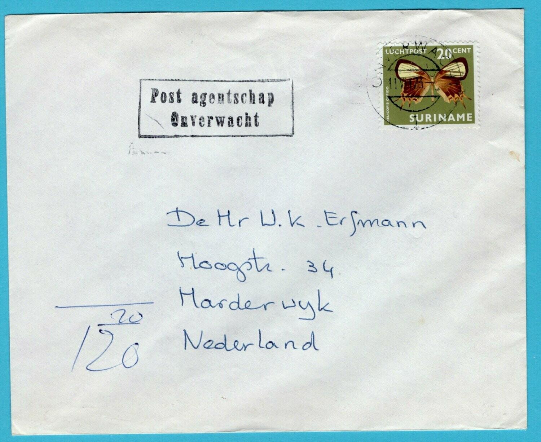 SURINAME brief 1973 postagent schap Onverwacht