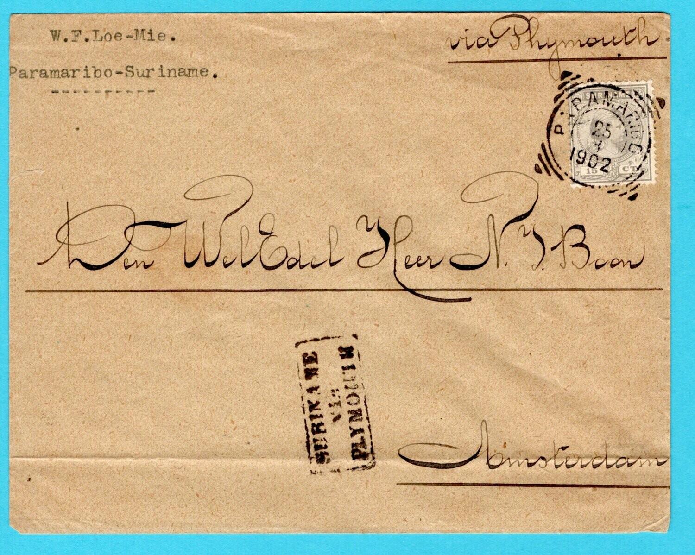 SURINAME brief 1902 Paramaribo via Plymouth naar Nederland