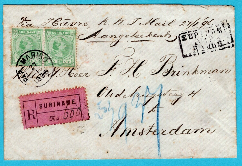 SURINAME R brief 1896 Paramaribo naar Nederland