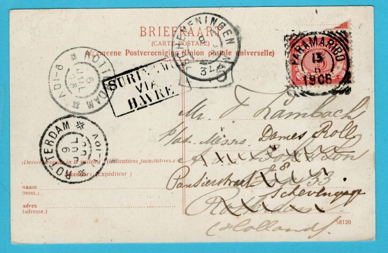 SURINAME prentbriefkaart 1906 Paramaribo naar Scheveningen