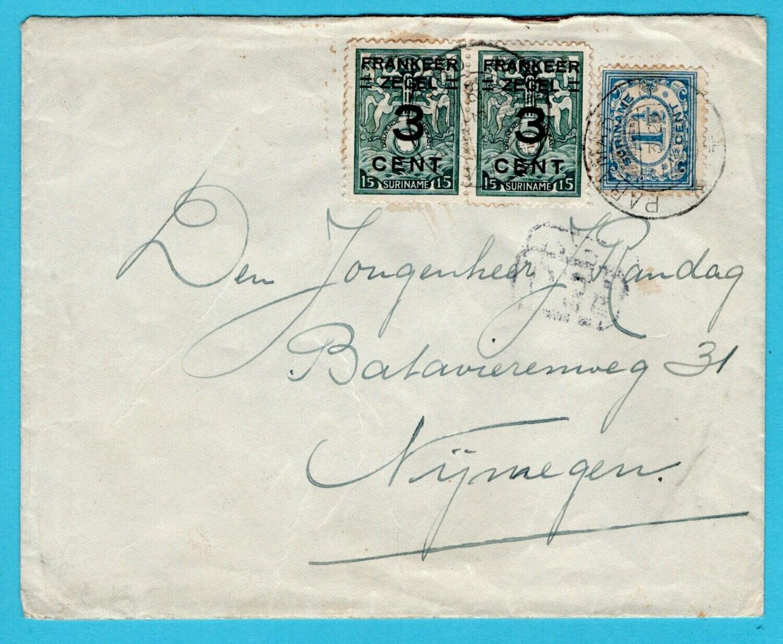 SURINAME brief 1928 Paramaribo naar Nijmegen