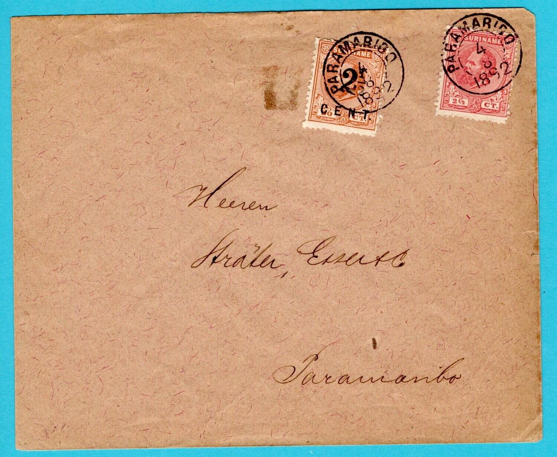 SURINAME brief 1892 Paramaribo lokaal
