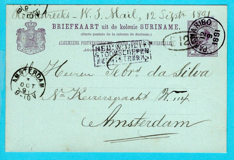 SURINAME briefkaart 1891 Paramaribo NWI Stoomschepen rechtstreeks
