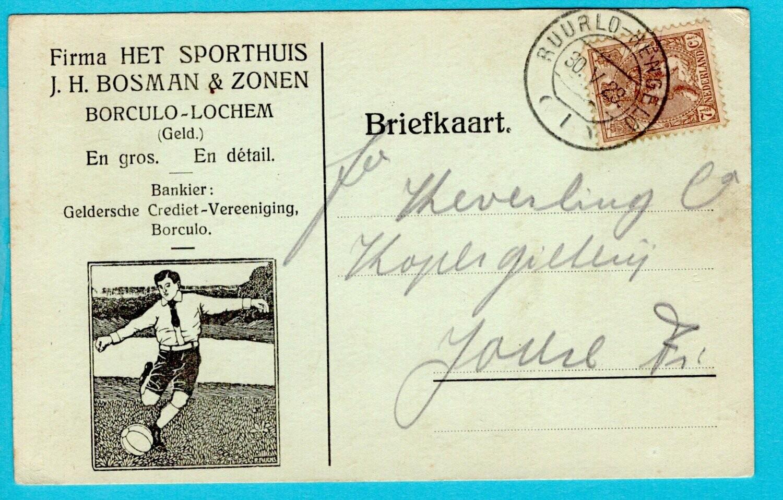 NEDERLAND briefkaart 1923 Borculo treinstempel Ruurlo-Hengelo
