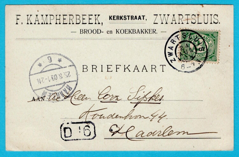 NEDERLAND briefkaart 1909 Zwartsluis brood en koekbakker