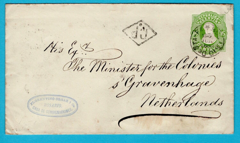 ARGENTINA postal envelope 1880 Rosario with scarce transit to NL