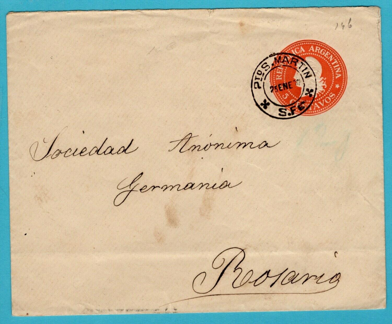 ARGENTINA postal envelope 1901 Pto San Martin to Rosario