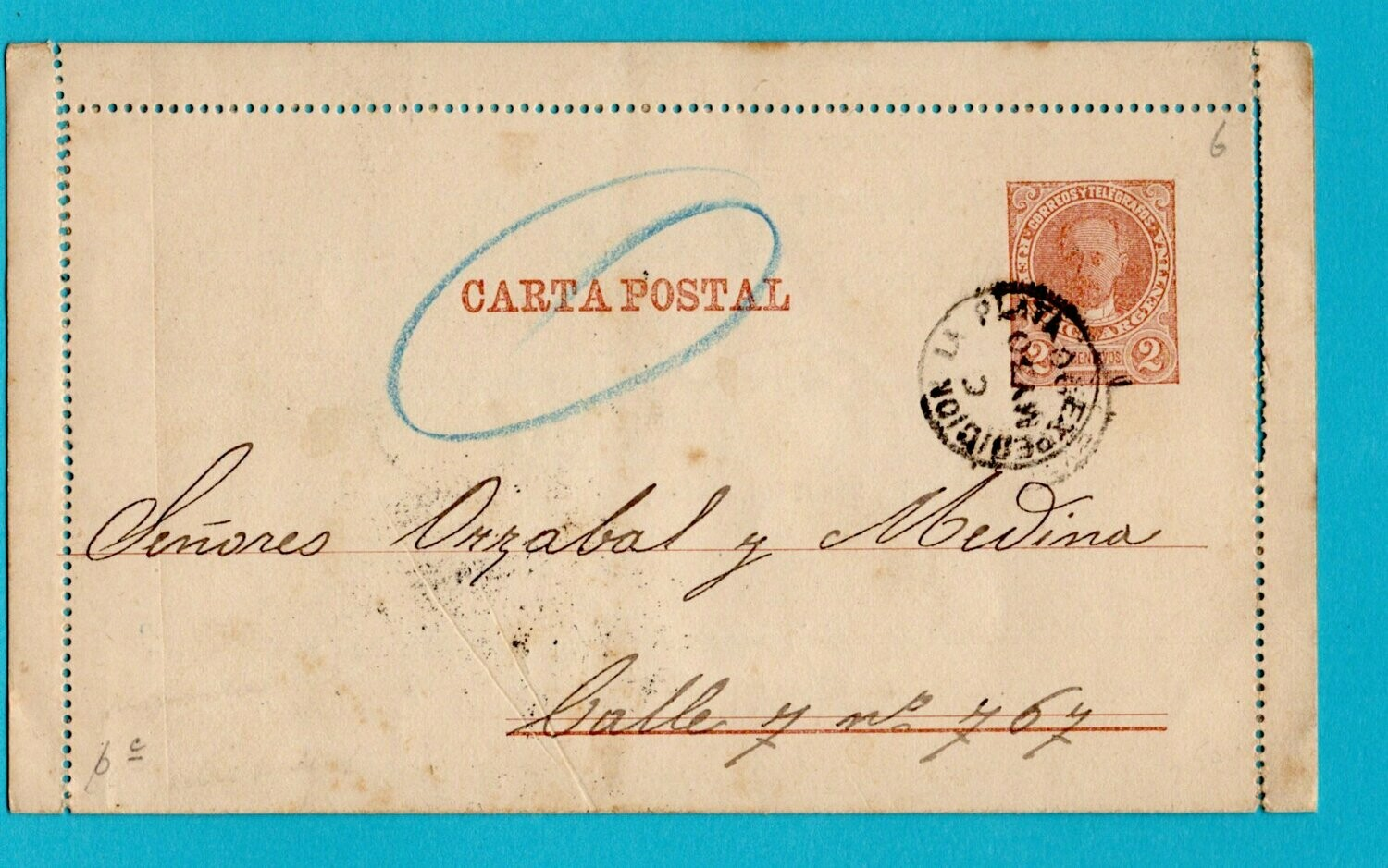 ARGENTINA letter sheet 1890 La Plata advertised