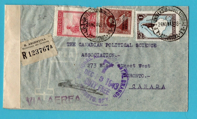 ARGENTINA R official censor cover 1943 Universidad to Canada
