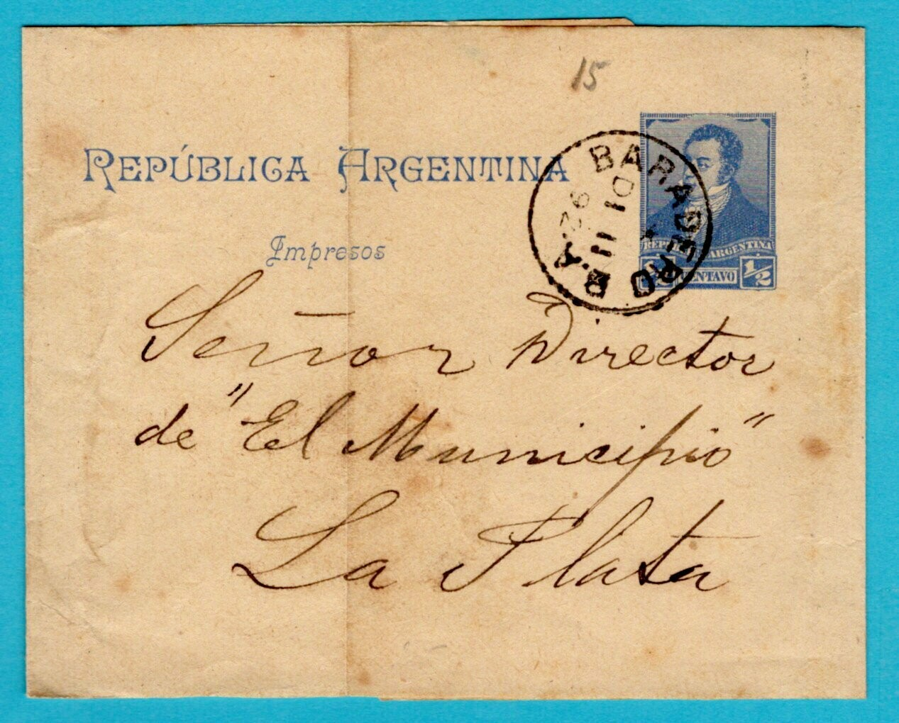 ARGENTINA wrapper 1892 Baradero to La Plata