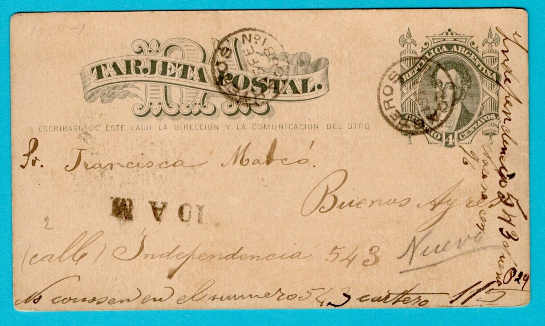 ARGENTINA postal card 1888 B.A. and returned