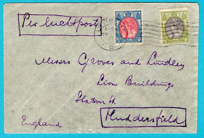 NEDERLAND luchtpost brief 1921 Utrecht naar Engeland