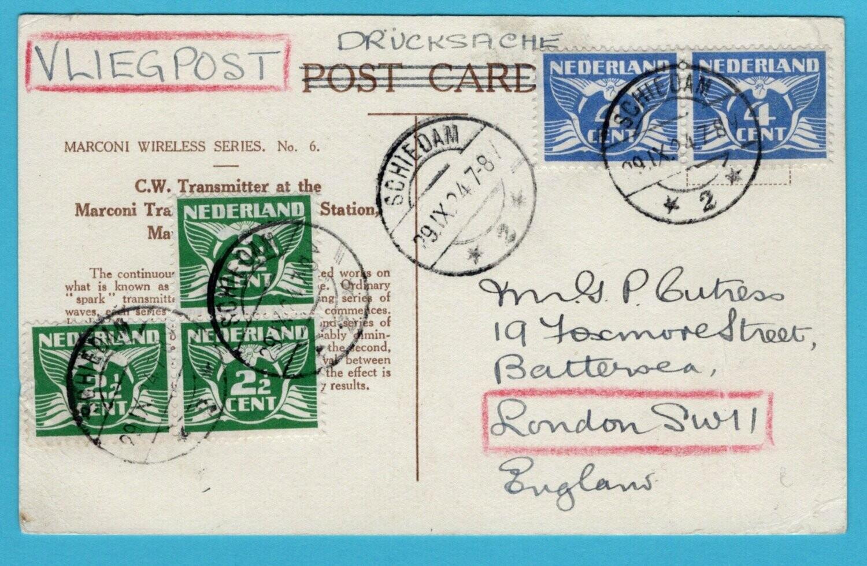 NEDERLAND luchtpost prentbriefkaart 1924 Schiedam naar London