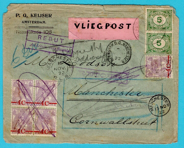 NEDERLAND luchtpostbrief 1922 Amsterdam naar Manchester