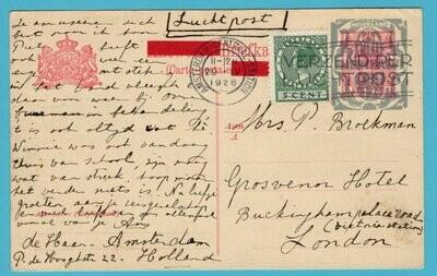 NEDERLAND luchtpost kaart 1926 Amsterdam naar London