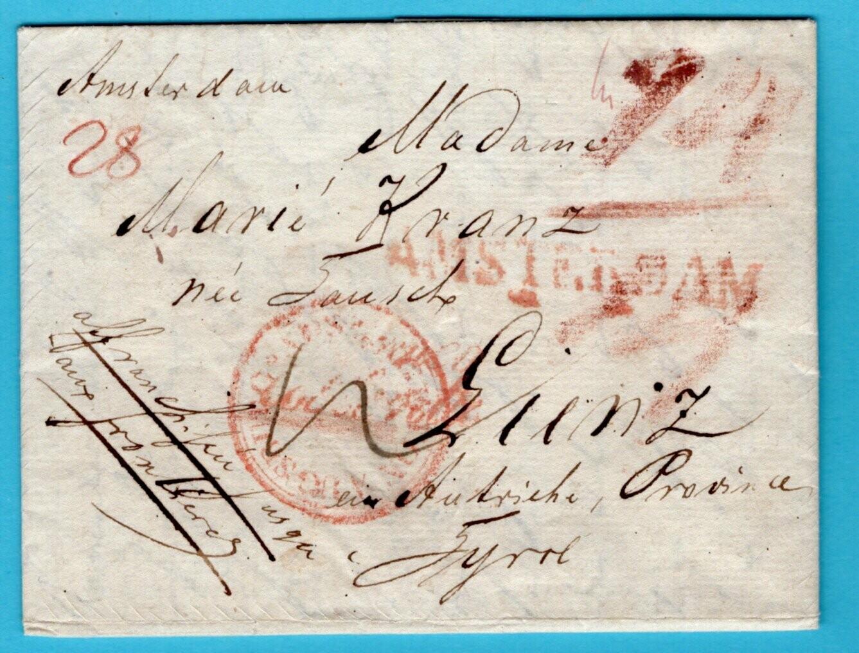 NEDERLAND complete brief 1828 Amsterdam naar Oostenrijk