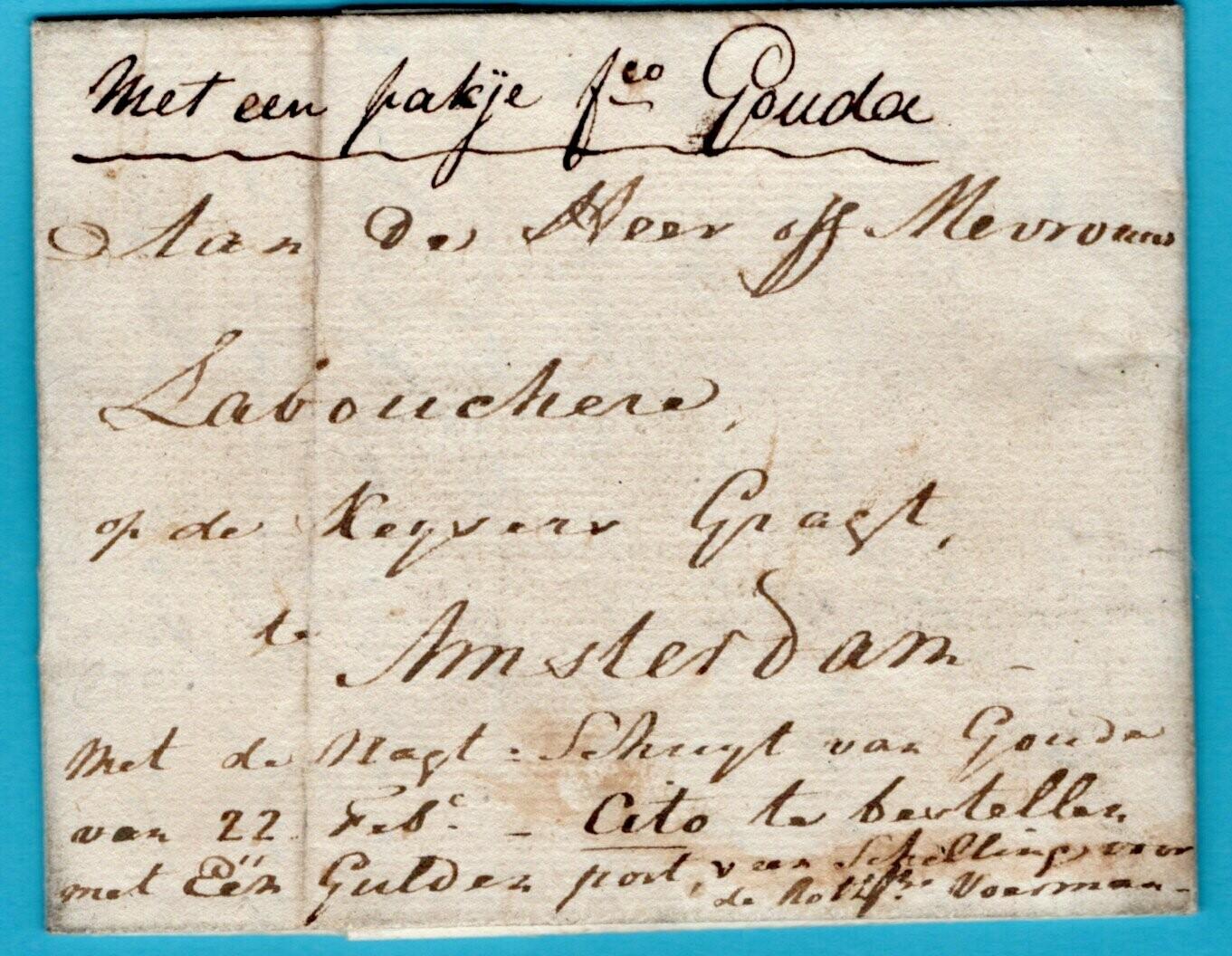 NEDERLAND complete brief 1807 Rotterdam - Gouda naar Amsterdam