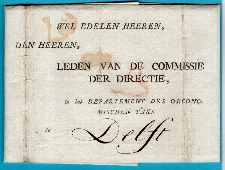 NEDERLAND brief met inhoud 1780 Schoonhoven naar Delft