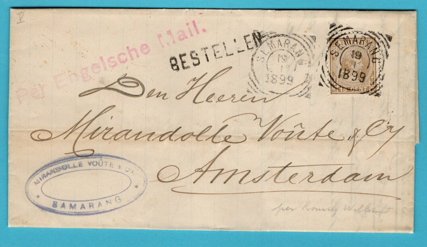 NETHERLANDS EAST INDIES cover 1899 Semarang to Amsterdam