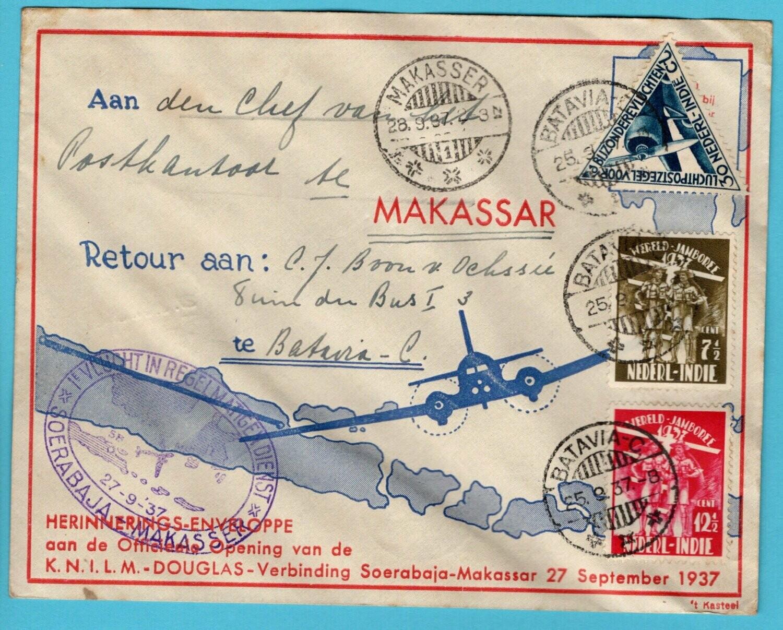 NETHERLANDS EAST INDIES air cover 1937 Batavia - Makasser