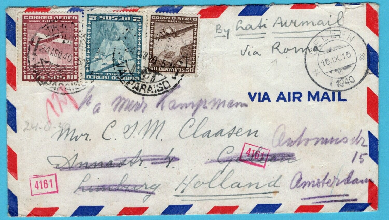 CHILE LATI air censor cover 1940 undercover Canal Zone to Netherlands