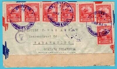 VENEZUELA censor air cover 1943 Lagunillas a Zulia to Suriname