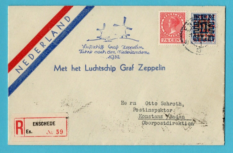 NEDERLAND Zeppelin R brief 1932 Enschede Nederland vlucht
