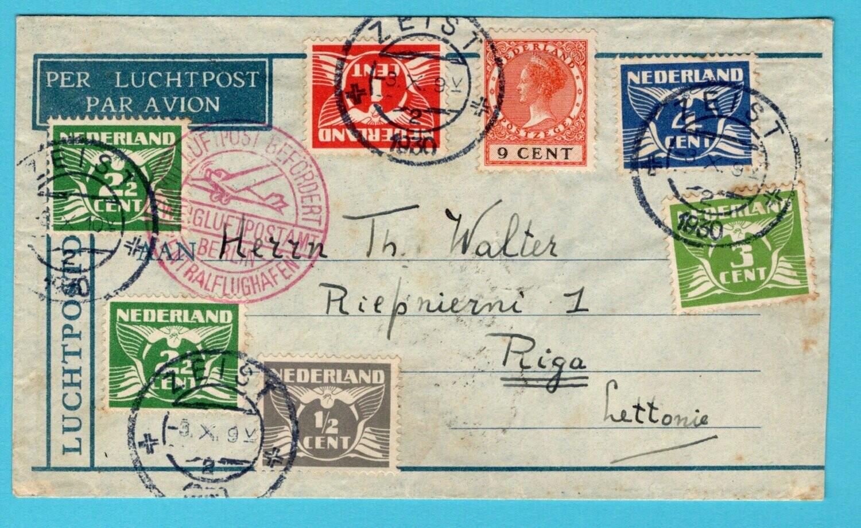 NEDERLAND luchtpost brief 1930 Zeist naar Letland